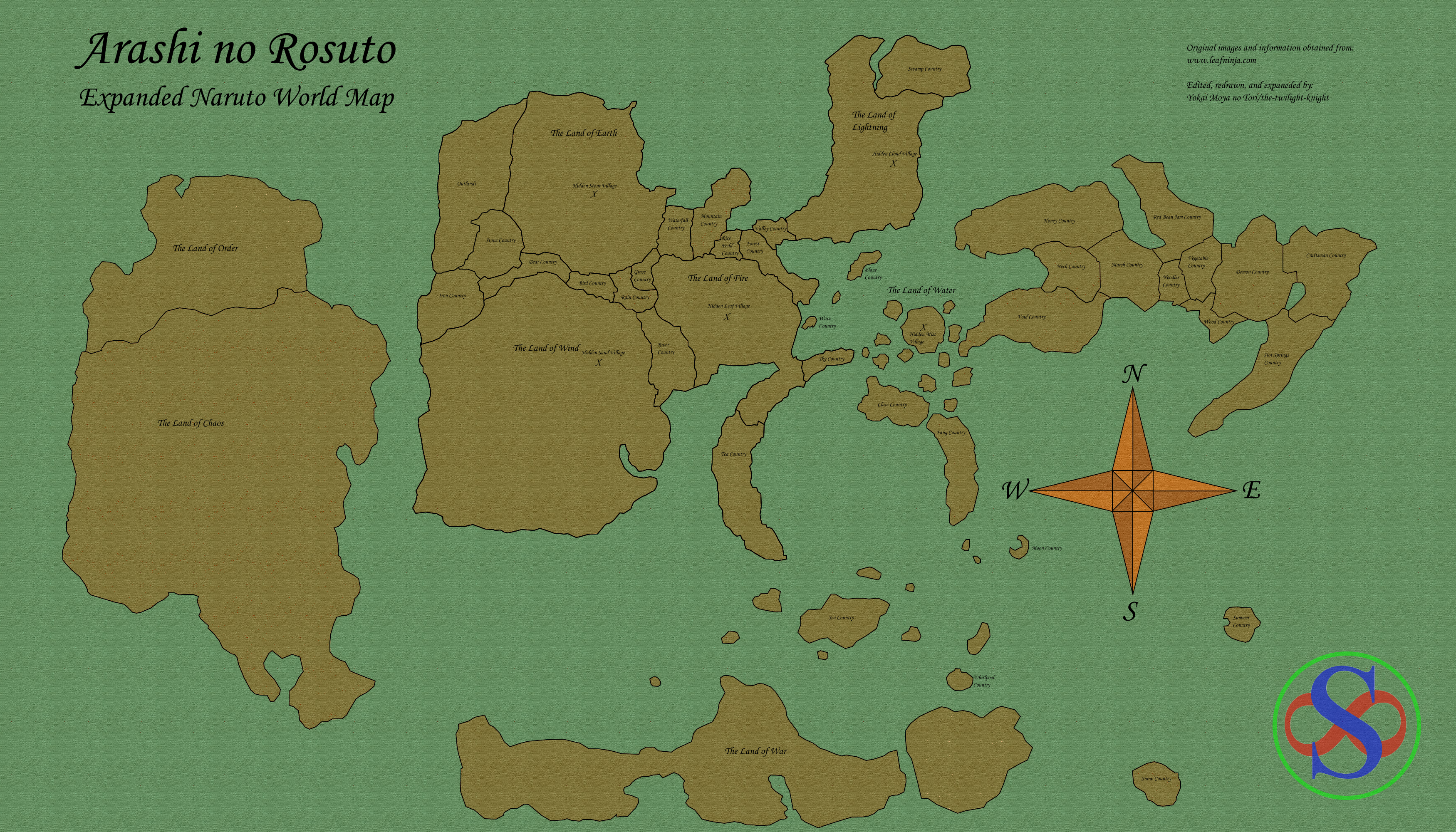 Elemental nations geographical map by xshadowrebirthx on deviantart naruto expanded world map by the twilight knight gumiabroncs Gallery