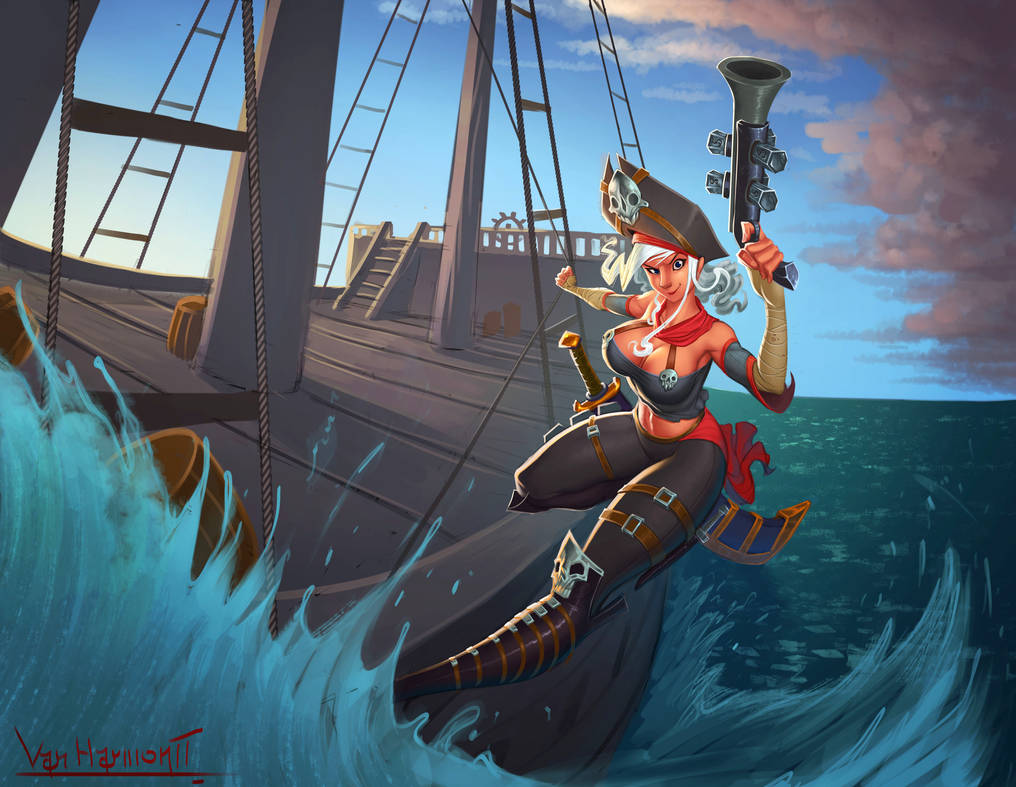 Commission: ''Why so Salty'' Pirate Woman by VanHarmontt