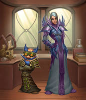 Gnome Warlock and human mage by VanHarmontt