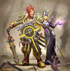 Paladin and mage by VanHarmontt