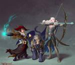 Human Alchemist and Elf Arcane Archer