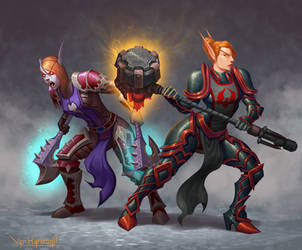 Undead warrior and Blood elf paladin by VanHarmontt