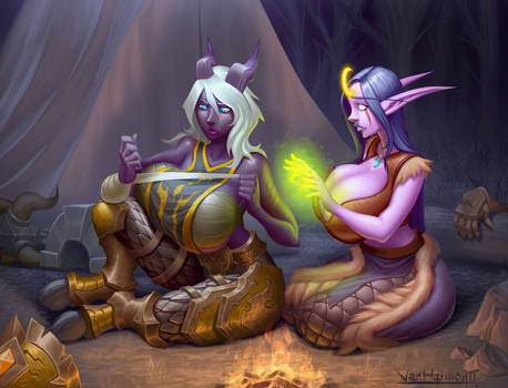Night elf and draenei after battle