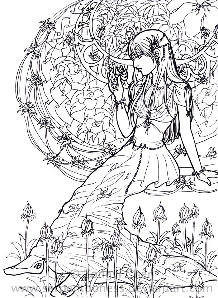 Flower girl lineart WIP by serpentdoness on DeviantArt