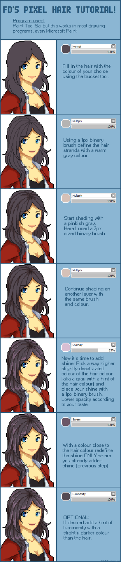 Pixel Shading Hair Tutorial by GioFD