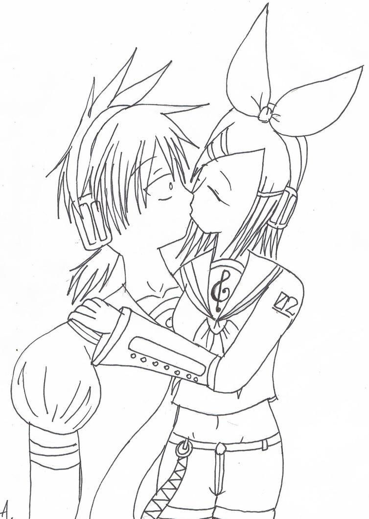 Line Art Kiss : Rinxlen kissing line art by tokito sempai on deviantart