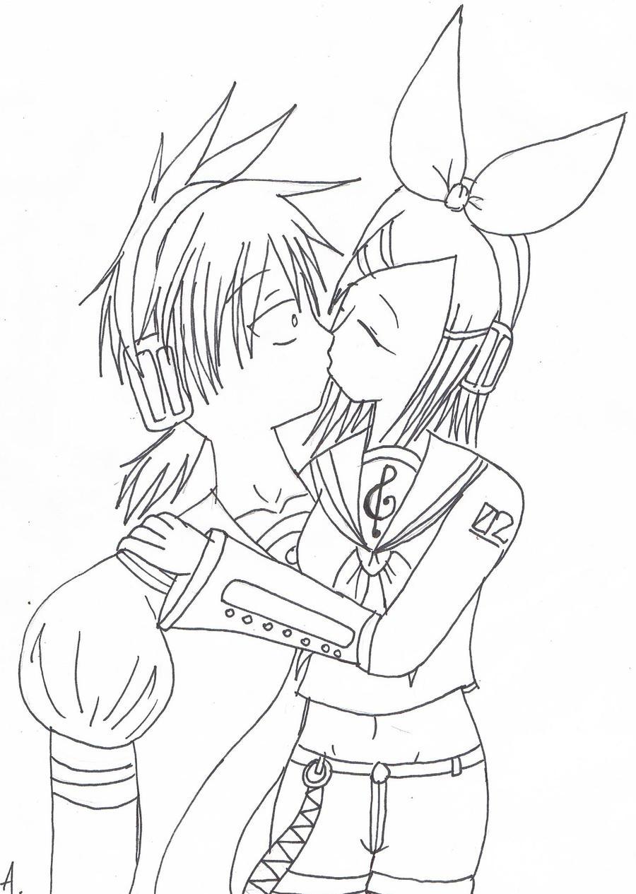Line Drawing Kiss : Rinxlen kissing line art by tokito sempai on deviantart