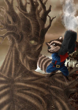 Rocket Raccon and Groot