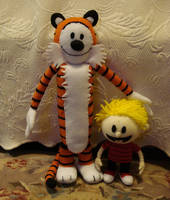Custom plush - Calvin+Hobbes by silentorchid