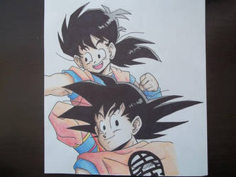 Son Goku and Gohan by obsessive-fan-girl