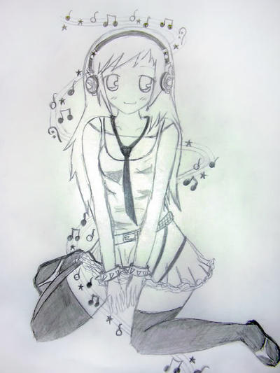 Anime girl with headphones by muffin12215