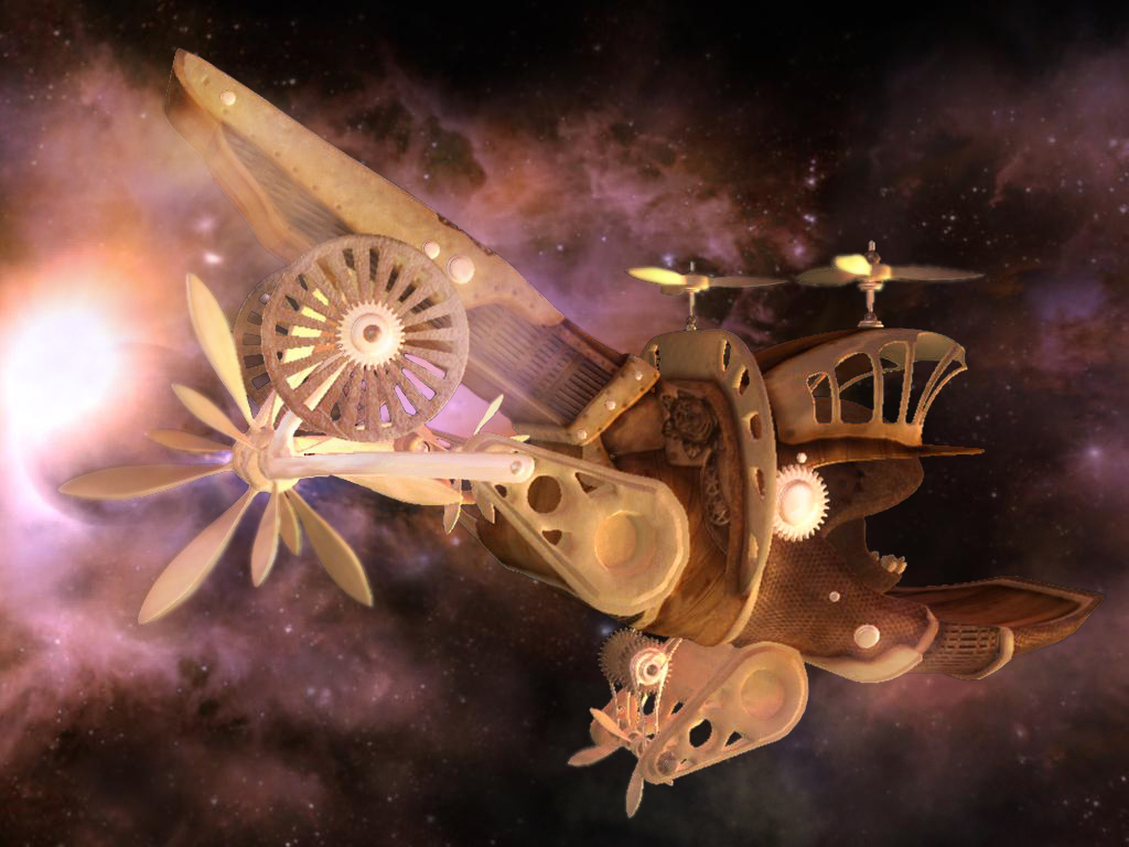 Steampunk spaceship: 1 of 3 by Aletheart