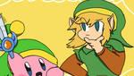 Sword Kirby meets Link by Bumpadump2002