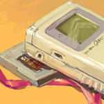 paintings on my desk - gameboy