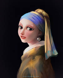 Girl with a Pearl Earring by Y0Y0Sketch