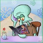 Squidward Reading