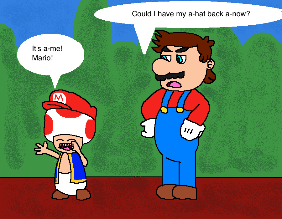 Toad Wearing Mario S Hat By Afrootaku917 On Deviantart