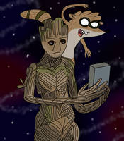 Groot and Rigby by AfroOtaku917