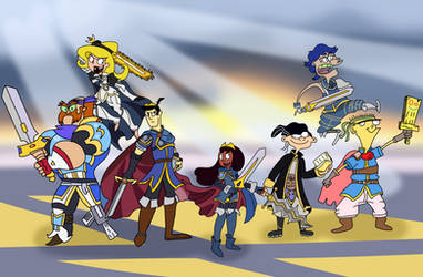 Cartoon Emblem Warriors by AfroOtaku917