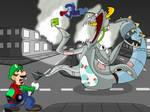 Luigi vs Edzilla by AfroOtaku917