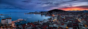 Sunset panorama of town Split by Lidija-Lolic