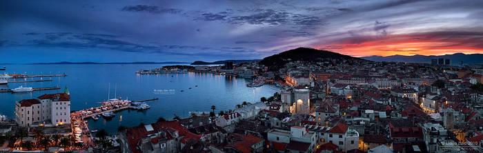 Sunset panorama of town Split by Lidija-Lolic