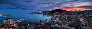 Sunset panorama of town Split