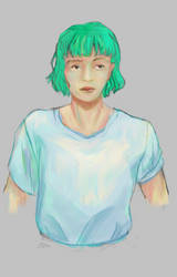 teal-haired lady