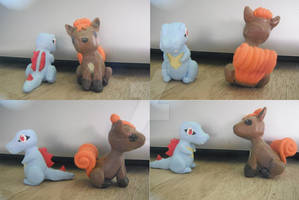 Totodile and Vulpix clay figures -Pokemon-
