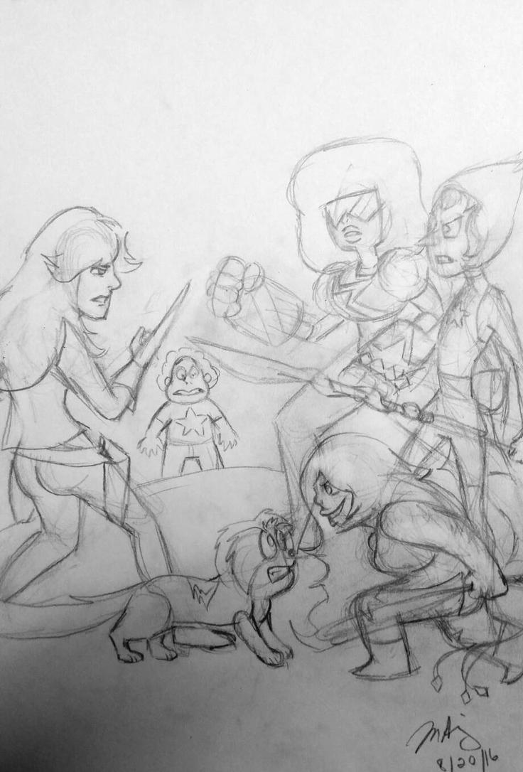 Crystal Gems Meet Blacktail and Marz (sketch) by pythonorbit