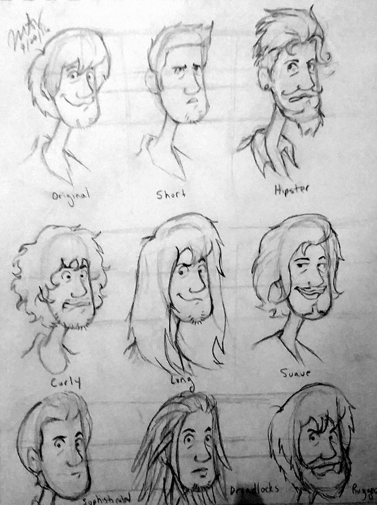 Many Hairstyles for Shaggy by pythonorbit