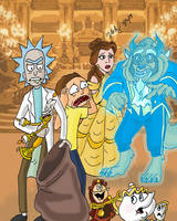 Rick and Morty Meet Beauty and the Beast by pythonorbit