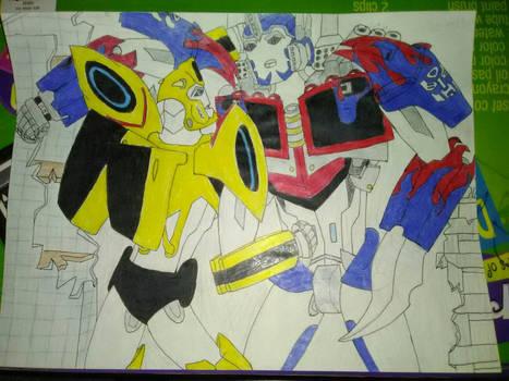 Optimus vs. Bumblebee TLK by Ana Smith.