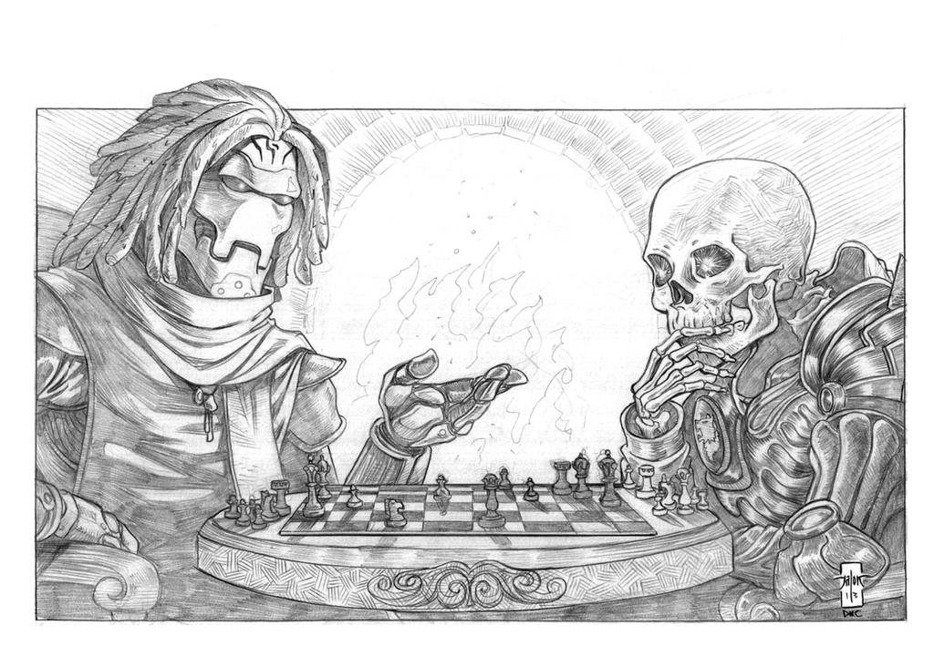 The Hierophant and The Karrnathi Skeleton by Everwho