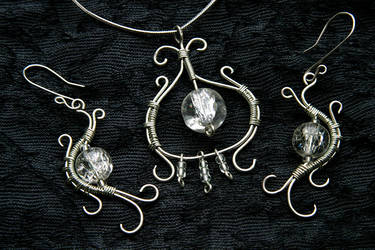 Wire wrapped silver set
