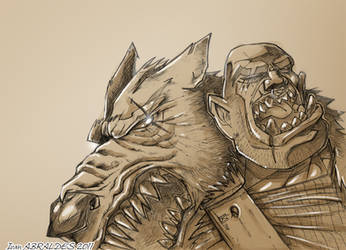 an orc with a wolf mantle by ia-design