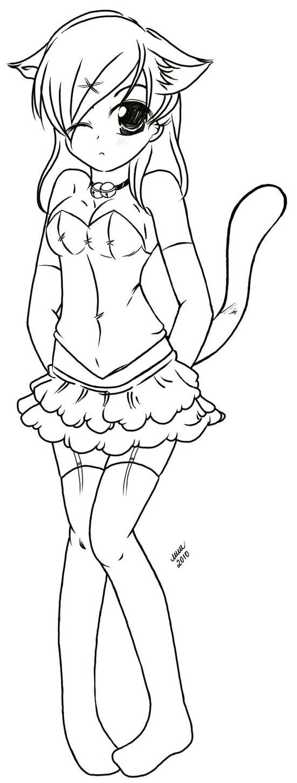 kitty girl lineart by litttle-princess on DeviantArt