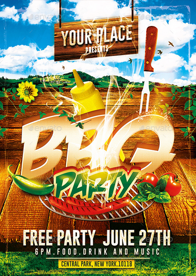 Bbq Party Psd Flyer Template By Ekxotemplate On Deviantart