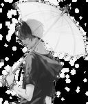 Monochrome Anime guy holding an umbrella render