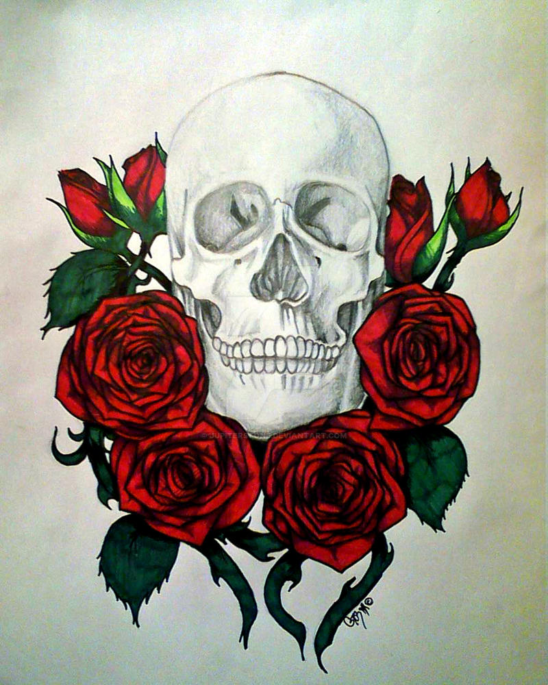 Skulls Tattoo Design Wallpaper: Skull And Roses By JupiterStone On DeviantArt