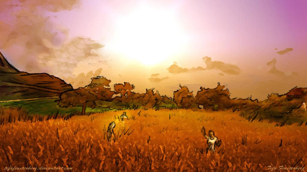 Field at nightfall wallpaper by TifaFinsterherz