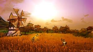 Field with Granary at nightfall by TifaFinsterherz