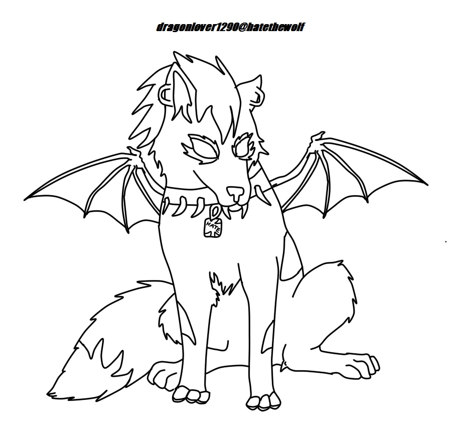 Hate The Wolf Lineart (with wings) by dragonlover1290 on ...