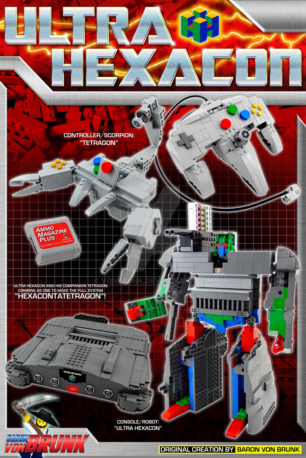 Ultra Hexacon - Transforming LEGO N64 Print by VonBrunk