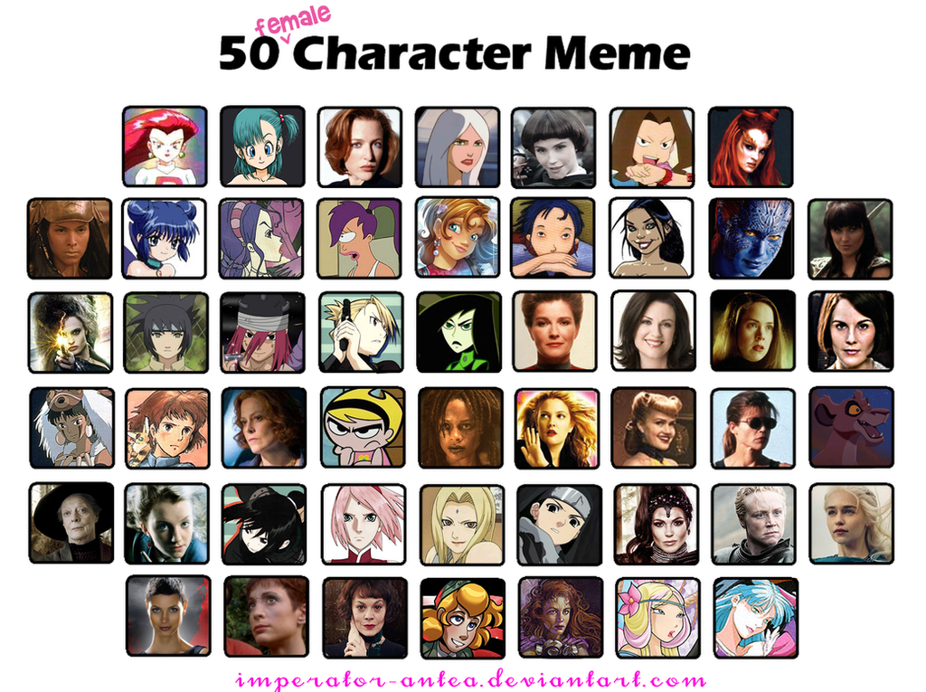 50 Female Fav Characters by imperator-antea