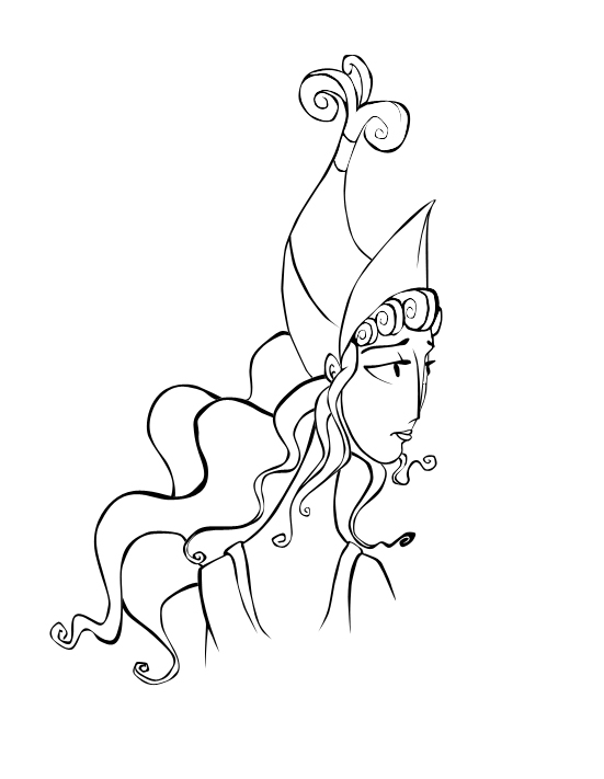 Hera Drawing Simple Sketch Coloring Page Hera Drawing Easy