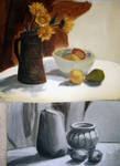 still life- two oil paintings