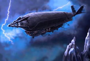 Steampunk-- The Airship Ligeia by Dragon-Bat