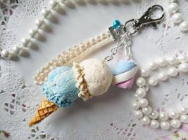 Marshmallow Double Scoop Ice Cream Keychain by KeoDear