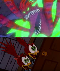 Knothead and Splinter Scared of Ungood Scary Ghost by OzzyZikeFan1057
